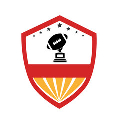 shield emblem with football ball and trophy cup vector image
