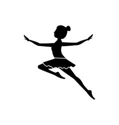 Silhouette with dancer jump second arabesque vector