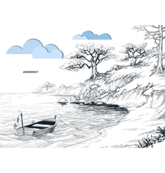 Summer seascape sketch olive trees on shore small vector image vector image