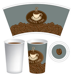 Template paper cup for hot drink with coffee cup vector