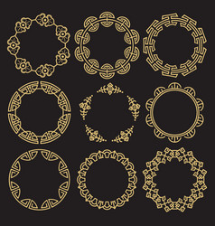 Traditional asian frames - chinese korean japanese vector