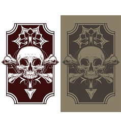 Awesome tattoo skull and bones set vector