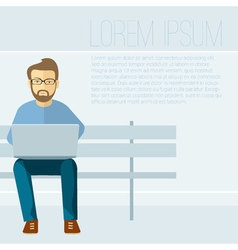 Man with laptop concept vector