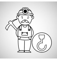 mine worker pickaxe with hook tool vector image