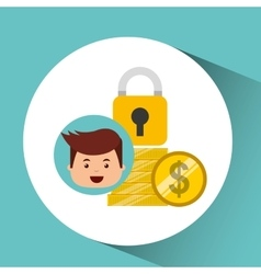 business man secure money coins clock vector image