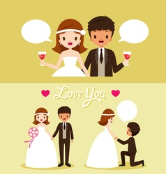 Bride and black skin groom in wedding clothing set vector