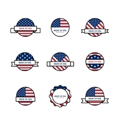 Set of stamps with USA flags vector image