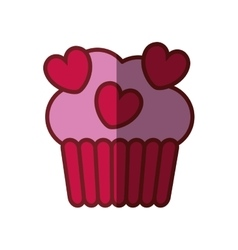 Pink cup cake hearts valentine day party vector