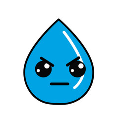kawaii nice angry drop water vector image