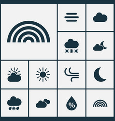 Meteorology icons set collection of snowy wet vector