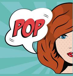 girl bubble speech pop art comic style vector image