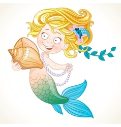 Cute little mermaid holding a shell vector image
