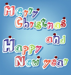 Text of merry christmas with pin vector
