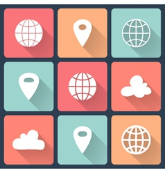 White map pin flat icons vector image