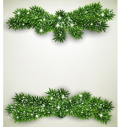 Fir bundle christmas frame vector