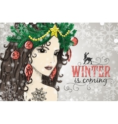 Hand drawn christmas beautiful woman vector