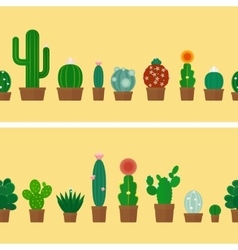 Cactus horizontal background vector