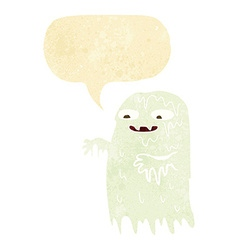 Cartoon gross slime ghost with speech bubble vector