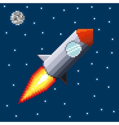 Pixel rocket in space vector