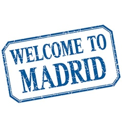 Madrid - welcome blue vintage isolated label vector