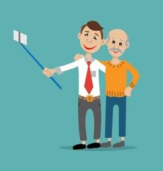 Father and son posing for a selfie vector