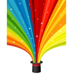 Magic hat with rainbow rays vector