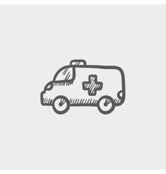Ambulance car sketch icon vector image