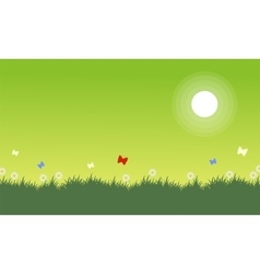 At spring landscape on green backgrounds vector