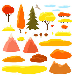 Autumn set of trees mountains and hills seasonal vector
