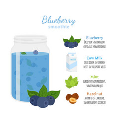 Blueberry smoothie organic recipe ingredients vector