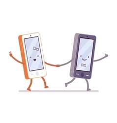 Boy and girl smartphones are walking holding a vector