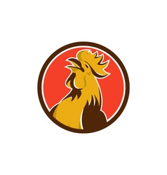 Chicken rooster crowing circle retro vector