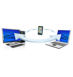 Computer laptop and cell phone connecting vector