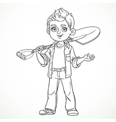Cute boy farmer in jeans holding a shovel on his vector