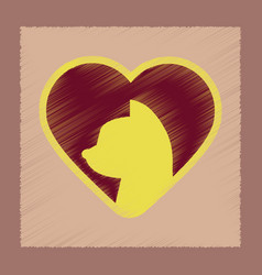 Flat shading style icon cat heart vector