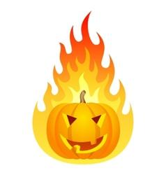 Halloween pumpkin on fire vector