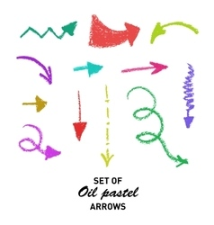 Hand drawn oil pastel arrows for presentation vector image