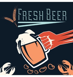 hand with a glass of beer retro vector image