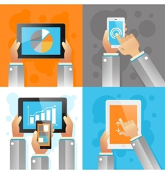 Hands with mobile devices vector
