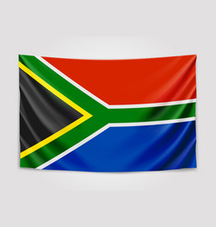 Hanging flag of south africa republic of south vector