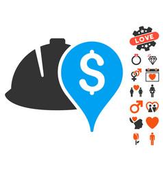 helmet and money pointer icon with valentine bonus vector image vector image