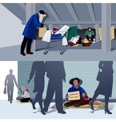 Homeless people flat compositions vector