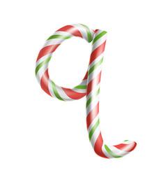 letter q 3d realistic candy cane alphabet vector image vector image