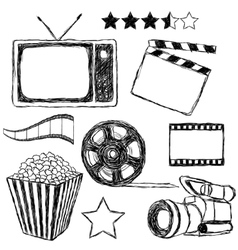 movie doodle collection vector image