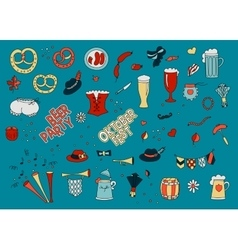 Oktoberfest set in doodle style vector image