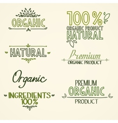Organic health food headings natural product vector