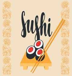 oriental banner with sushi on the tray and sticks vector image vector image