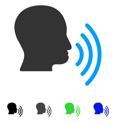 Person speech waves flat icon vector