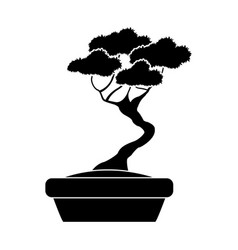 Pot black tree silhouette decorative ornate vector