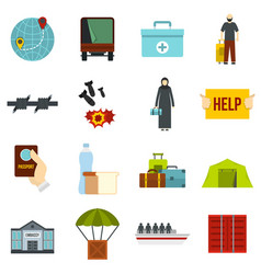 Refugees problem set flat icons vector